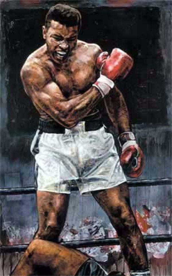 """Muhammad Ali Over Liston"" Giclee on Canvas by Stephen Holland"