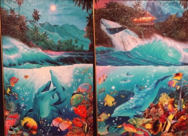 """""""Shangri-La"""" Deluxe Unique Mixed Media Diptych with 6 small diamonds by Christian Riese Lassen"""