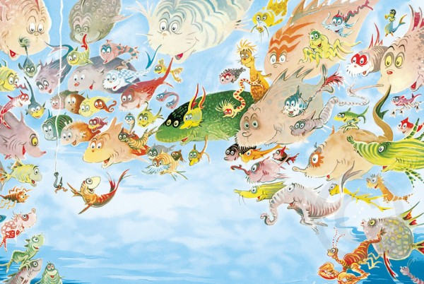 """A Plethora of Fish"" Serigraph on Archival Panel by Dr. Seuss"