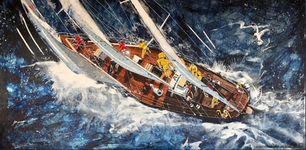 """High Seas"" Original Mixed Media Painting on Aluminum by Michael Bryan"