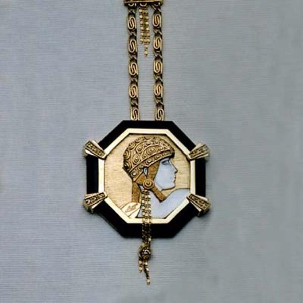 """Aventurine"" State IV Pendant Necklace by Erte"