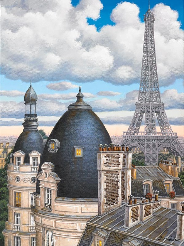 """""""Rooftops with Eiffel Tower"""" hand-signed archival print on canvas by Liudmila Kondakova"""