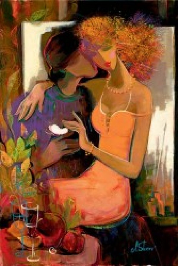 """""""Love Blooms"""" Giclee on Hand Textured Canvas by Irene Sheri"""