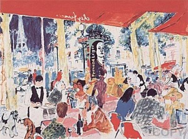"""Chez Francis"" Serigraph by LeRoy Neiman"