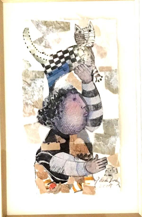 """""""Le Chat De Paris"""" Original Mixed Media Collage by Graciela Rodo Boulanger"""