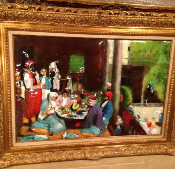 """Cairo Luncheon"" Original Enamel on Copper by Max Karp"