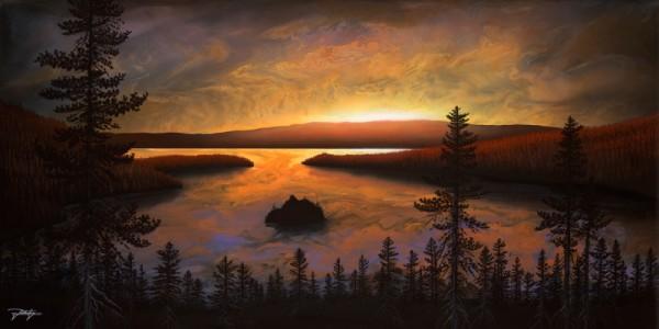 """Emerald Bay Sunrise"" Hand-Textured Giclee on Canvas by Jon Rattenbury"
