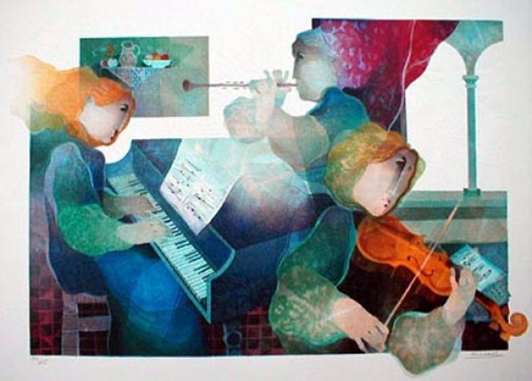 """Trio"" Lithograph from the Carmen Suite by Alvar Sunol"