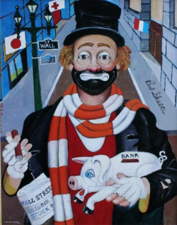 """""""The Banker"""" Serigraph/Canvas by Red Skelton"""