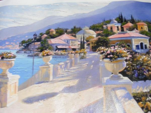 """Bellagio Promenade II"" Hand-Embellished Giclee on Canvas by Howard Behrens"
