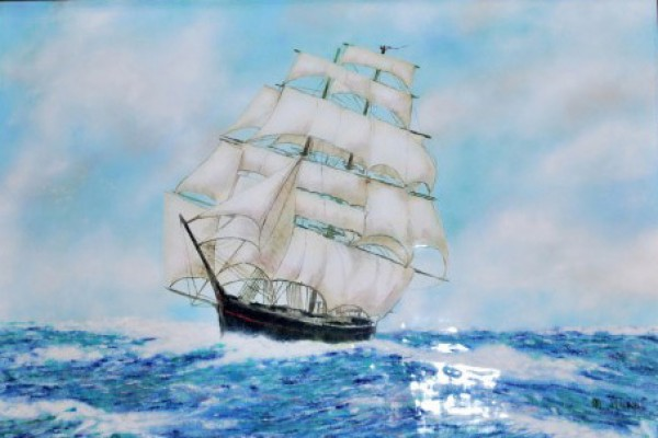 """""""Wooden Ship on the High Seas"""" Enamel on Copper by Max Karp"""