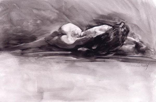 """Reclining Nude"" serigraph by Richard MacDonald"