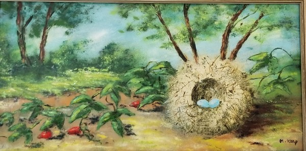 """""""Nest With Blue Eggs"""" Enamel on Copper by Max Karp"""