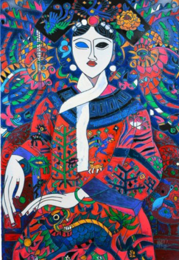 """The Empress"" 1992 Serigraph on Heavy Hand Deckled Paper  by Jiang Tie-Feng"