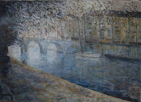 Avec Seine Pont Neuf, Paris Original Acrylic on Canvas by Slobodan Paunovic