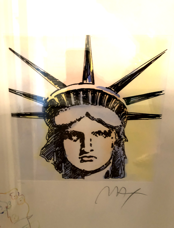 """Liberty Head Remarqued 2015 Embellishe Etching by Peter Max"