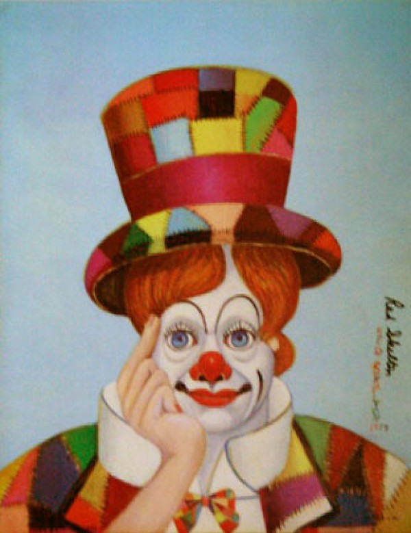 """Crazy Quilt Clown"" Serigraph by Red Skelton"