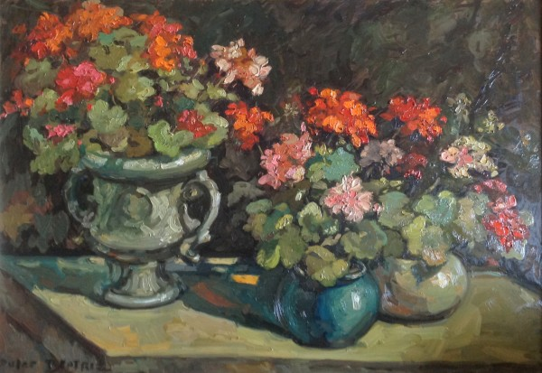 """Still Life With Geraniums"" Original Oil on Canvas by Dulce Beatriz"
