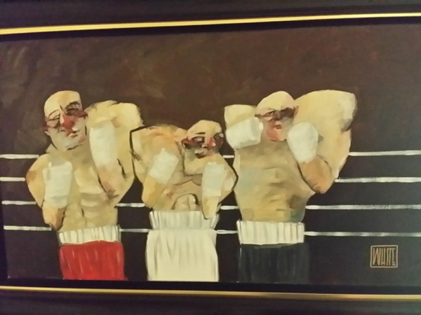 """""""Wanna Fight"""" Original Oil on Canvas by Todd White"""