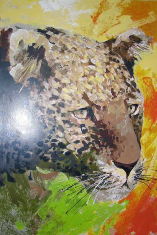 """""""Leopard's Head"""" Serigraph on Paper by Wayland Moore"""