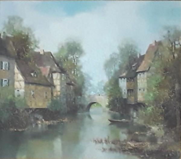"""Untitled Landscape"" Original Oil on Canvas by Willi Bauer"