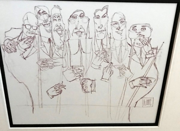 The Dinner Meeting Original Ink Drawing on paper by Todd White