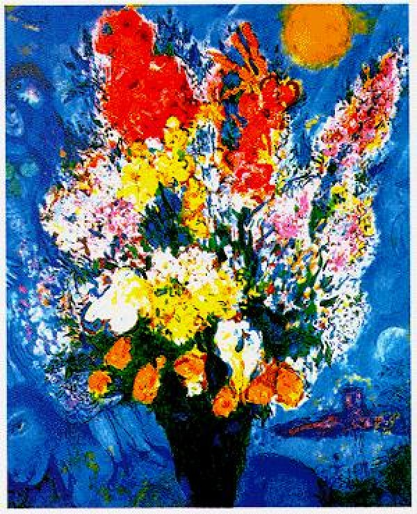 """Le Bouquet Illuminant Le Ciel"" Plate-Signed Lithograph by Marc Chaga;;"