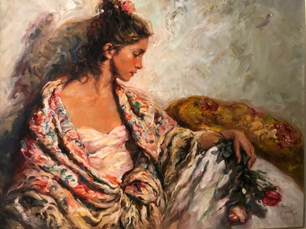 """Reposo"" Original Oil on Canvas Painting by Royo"