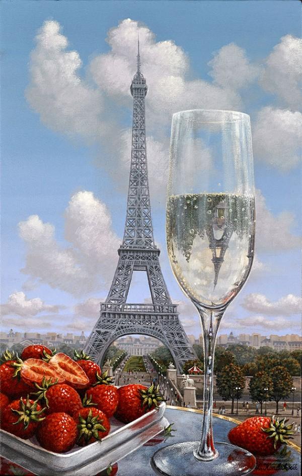 """Champagne and Strawberries"" Hand signed pigment print on canvas by Liudmila Kondakova"