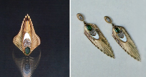 """""""Rayonnement Ring, State VIII"""" & Rayonnement Earrings, State IX"""" Fine Art to Wear Ring from Erte"""
