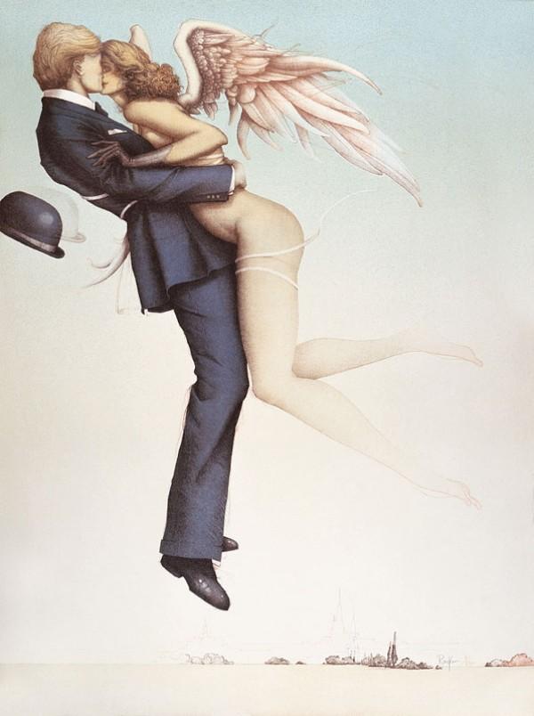 """Angel Affair"" Stone LIthograph by Michael Parkes"
