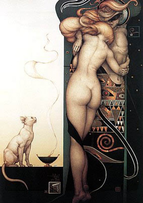 """""""Night and Day"""" Hand-Pulled Stone Lithograph by Michael Parkes"""