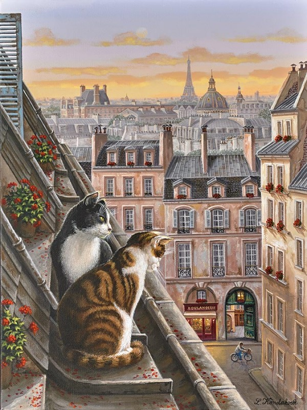 """Parisian Courtyard"" hand-signed archival print on canvas by Liudmila Kondakova"