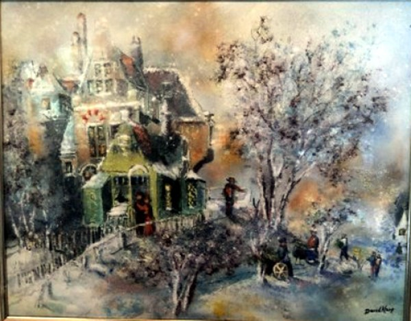 """Home and Family in Snow"" Original Enamel on Copper by David Karp"
