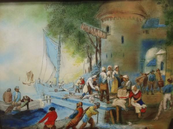 """Fisherman's Wharf"" Original Enamel on Copper by Max Karp"