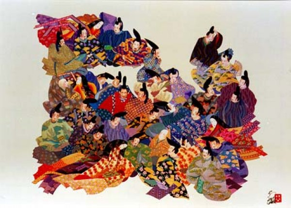 """""""36 Immortal Poets"""" Mixed Media on Opalesque Paper by Hisashi Otsuka"""