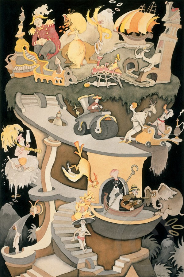 """""""Tower of Babel"""" Serigraph on Archival Panel by Dr. Seuss"""