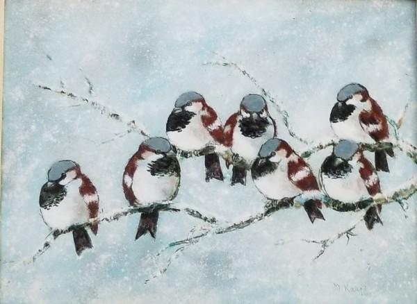 """Seven Snowbirds"" Enamel on Copper by Max Karp"