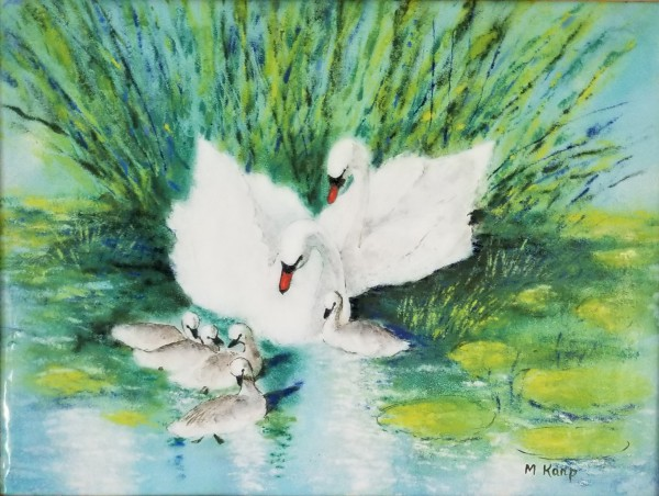 """""""Cobb, Pen and 5 Cygnets"""" Enamel on Copper by Max Karp"""