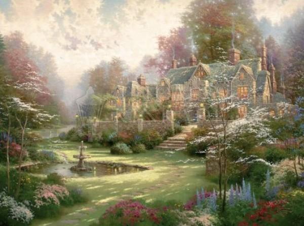 """Garden Beyond Spring Gate"" Giclee on Canvas by Thomas Kincade"