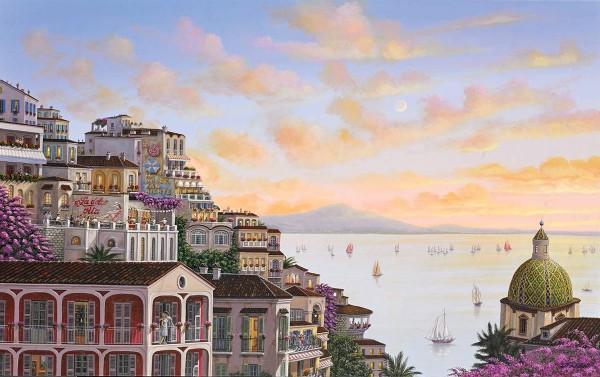 """Sunset in Positano"" Digital Pigment Print on Canvas by Liudmila Kondakova"
