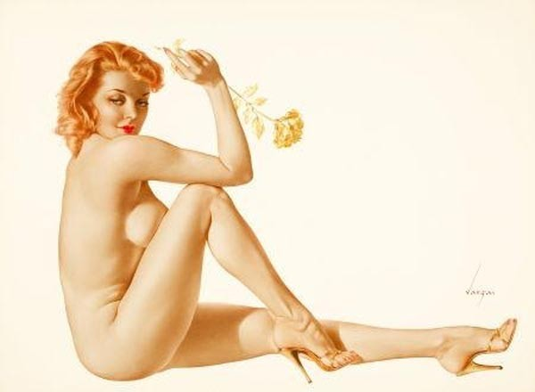 """Legacy Nude #9, """"Gold Carnation"""" Lithograph/Arches by Alberto Vargas"""