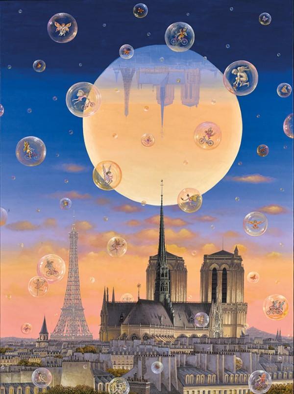 """Paris by Moonlight"" Digital Pigment Print on Canvas by Liudmila Kondakova"