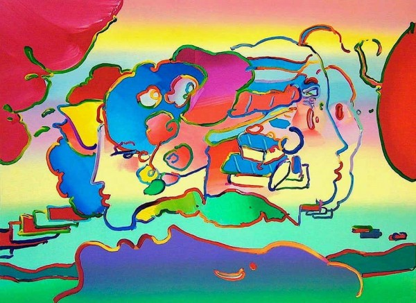 """""""Three Faces"""" 1991 lithograph by Peter Max"""