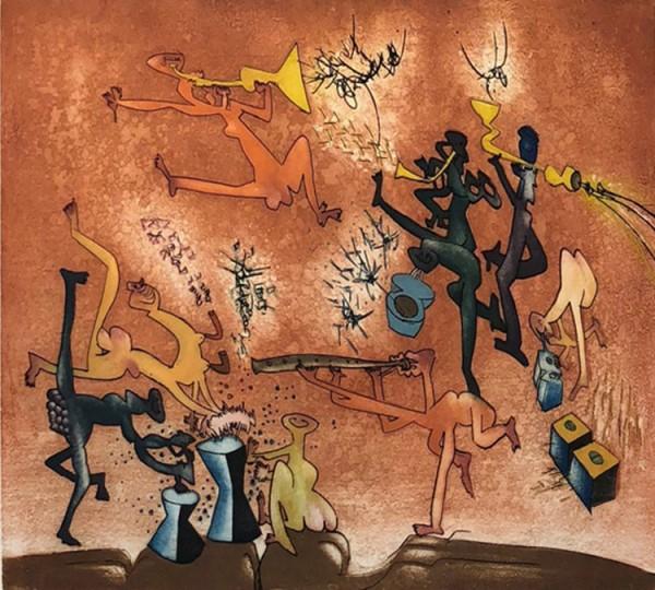"""Jazz Band"" Aquatint Etching by Roberto Matta"