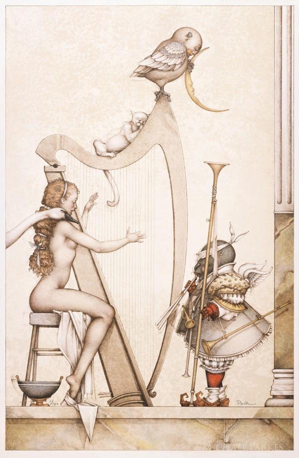 """Moon Harp"" Stone Lithograph by Michael Parkes"