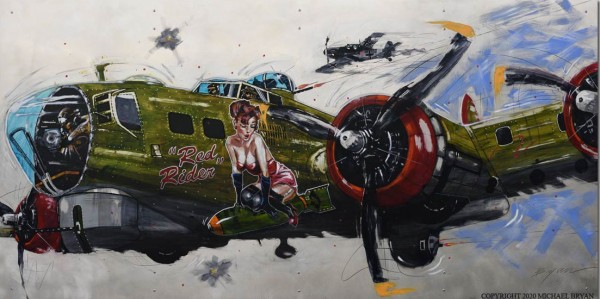"""""""Red Rider"""" B-17 Original Mixed Media Painting on Hand Worked Aluminum by Michael Bryan"""