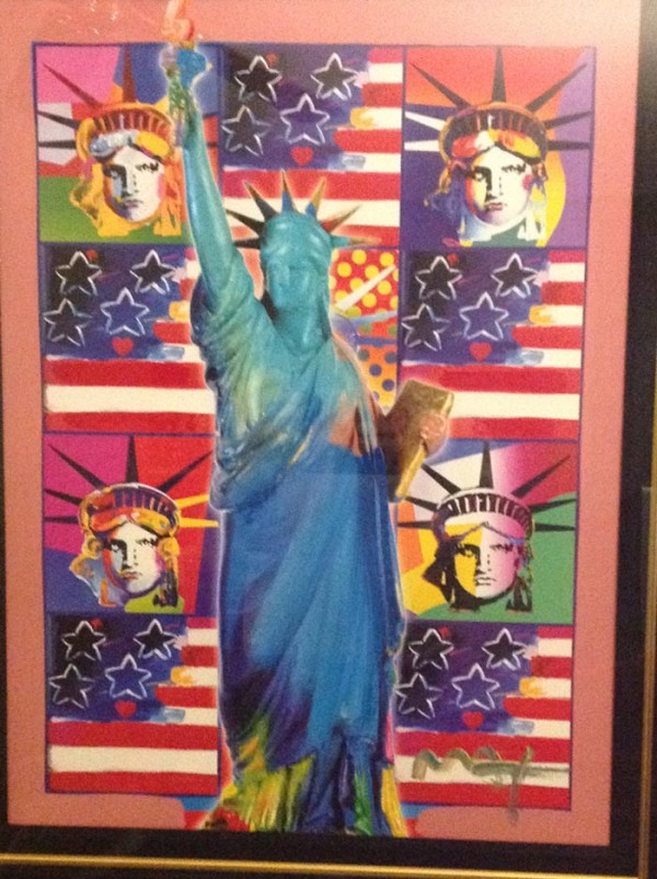 """""""God Bless America"""" with 5 Liberties Unique Mixed Media Acrylic on Color Lithograph by Peter Max"""