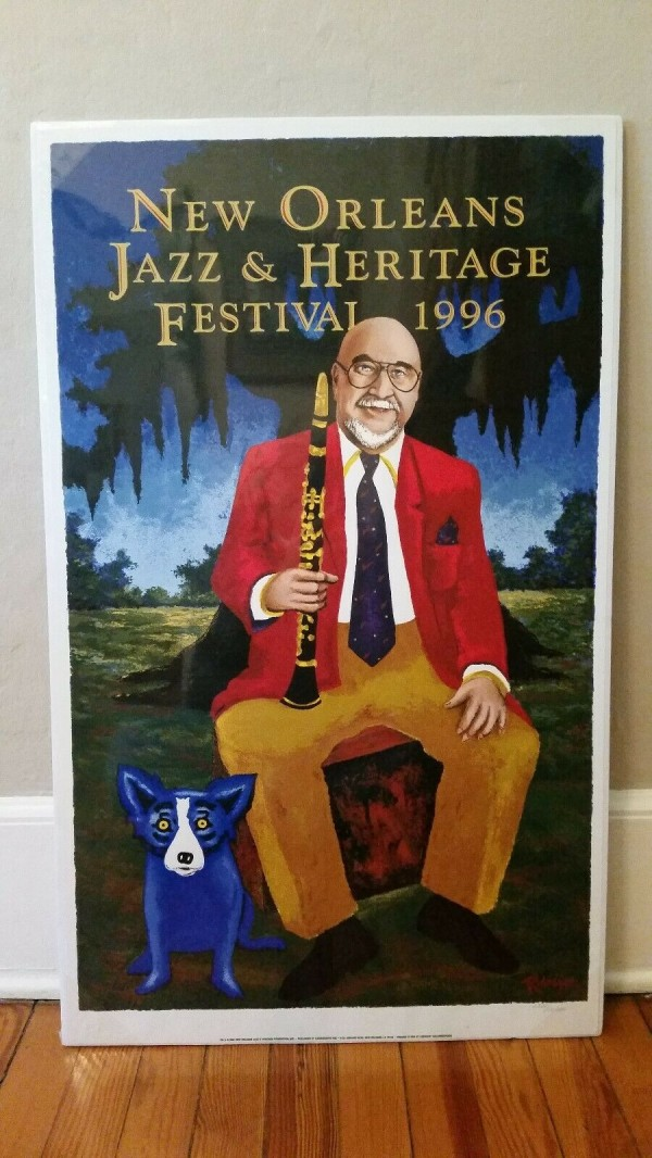 """""""New Orleans Jazz  & Heritage Festival 1996 Poster"""" by Blue Dog Artist, George Rodrigue"""