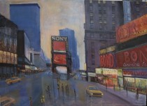 Time Square NYC 80's Original Acrylic painting on Canvas by Slobodan Paunovic